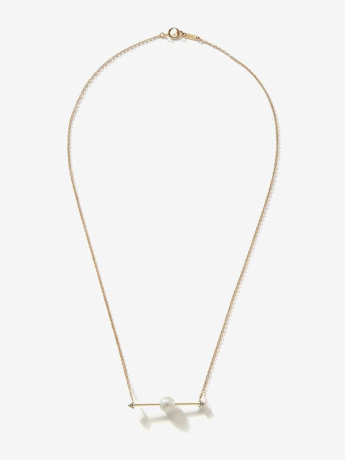 SBN198 SLIDING PEARL/ DIAMOND BAR NECKLACE