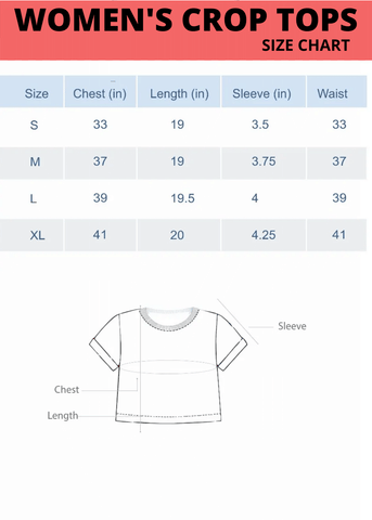 women crop top size chart | the forever print