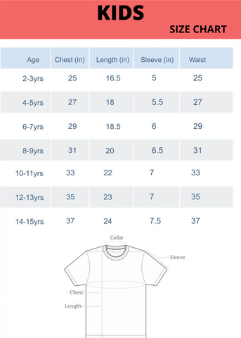 Kids Size Chart | The Forever Print