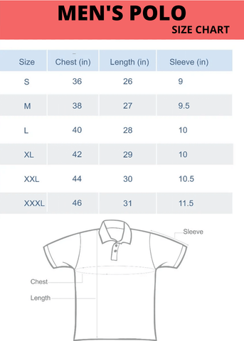 Men's Polo Size chart | the forever print