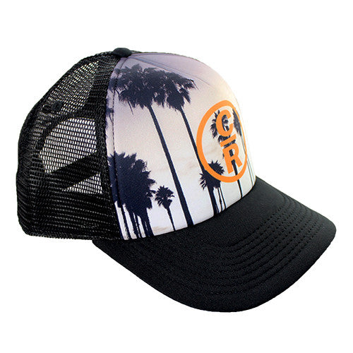 Palm Tree Trucker Hat With Sunset and Orange Logo