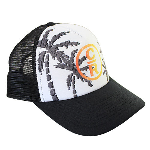 Palm Tree Trucker Hat With Orange and Yellow Logo