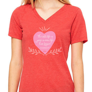 Celebrate Recovery Women's Heart V-Neck T-shirt