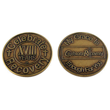 Celebrate Recovery Bronze Coin - 18 Year