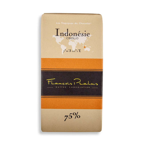 Francois Pralus Gourmet Chocolate Bar - Indonesie 75% Criollo Bean - 100g