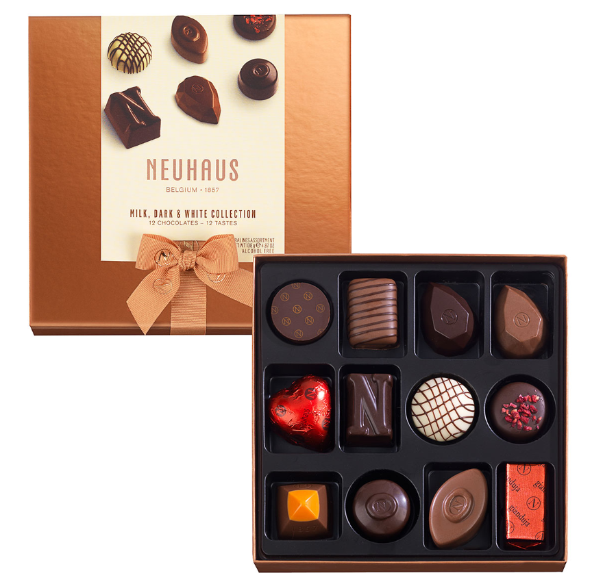 Neuhaus Chocolate Assortment - Milk, White & Dark Chocolate  - 12 piece box - Gourmet Boutique