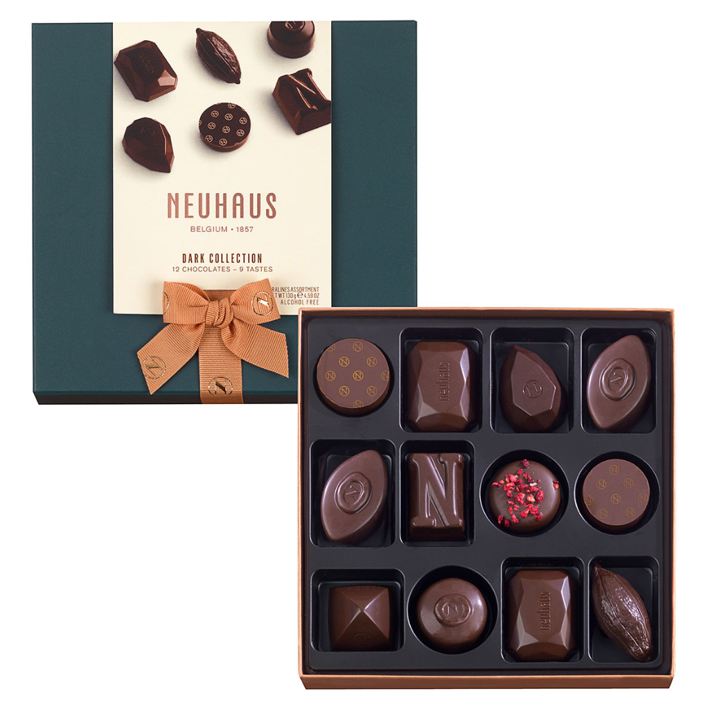 Neuhaus Chocolate Assortment - Dark Chocolate  - 12 piece box - Gourmet Boutique