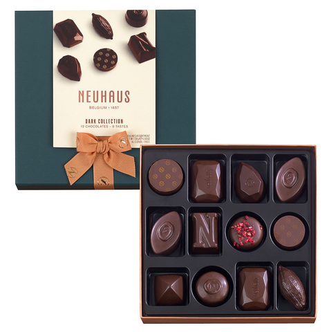 Neuhaus Chocolate Assortment - Dark Chocolate  - 12 piece box