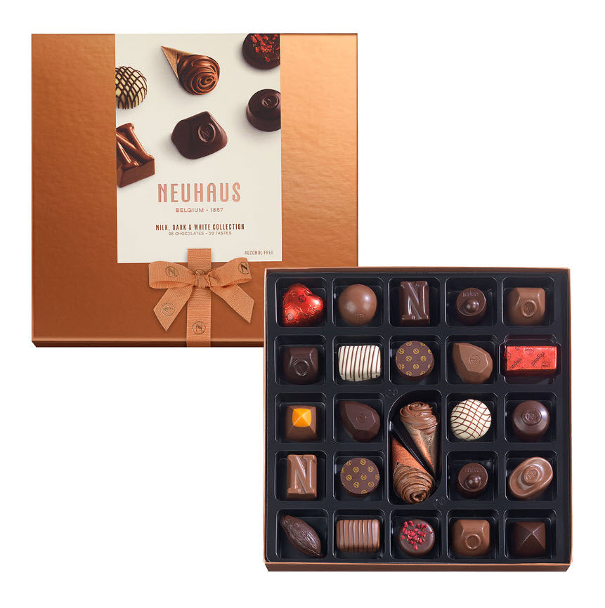 Neuhaus Chocolate Assortment - Milk, White & Dark Chocolate  - 25 piece box - Gourmet Boutique