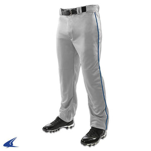 "Champro Youth TRIPLE CROWN OPEN BOTTOM PANT ""grey""  WITH PIPING"