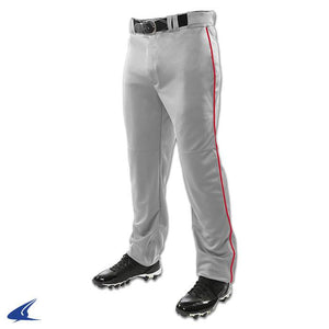"Champro Sports Youth TRIPLE CROWN OPEN BOTTOM PANT ""grey""  WITH PIPING"