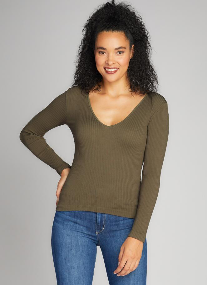 Seamless Rib Deep V Neck Top - Olive