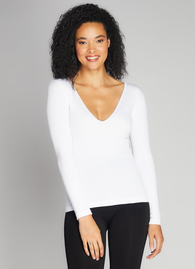 Seamless Rib Deep V Neck Top - White