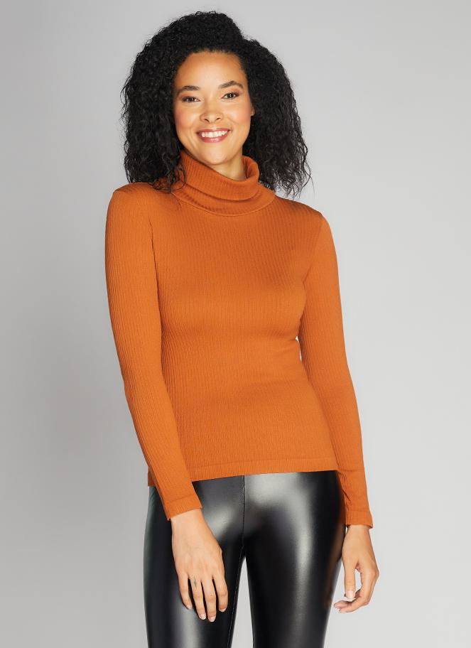 Seamless Rib Turtleneck Top - Ginger