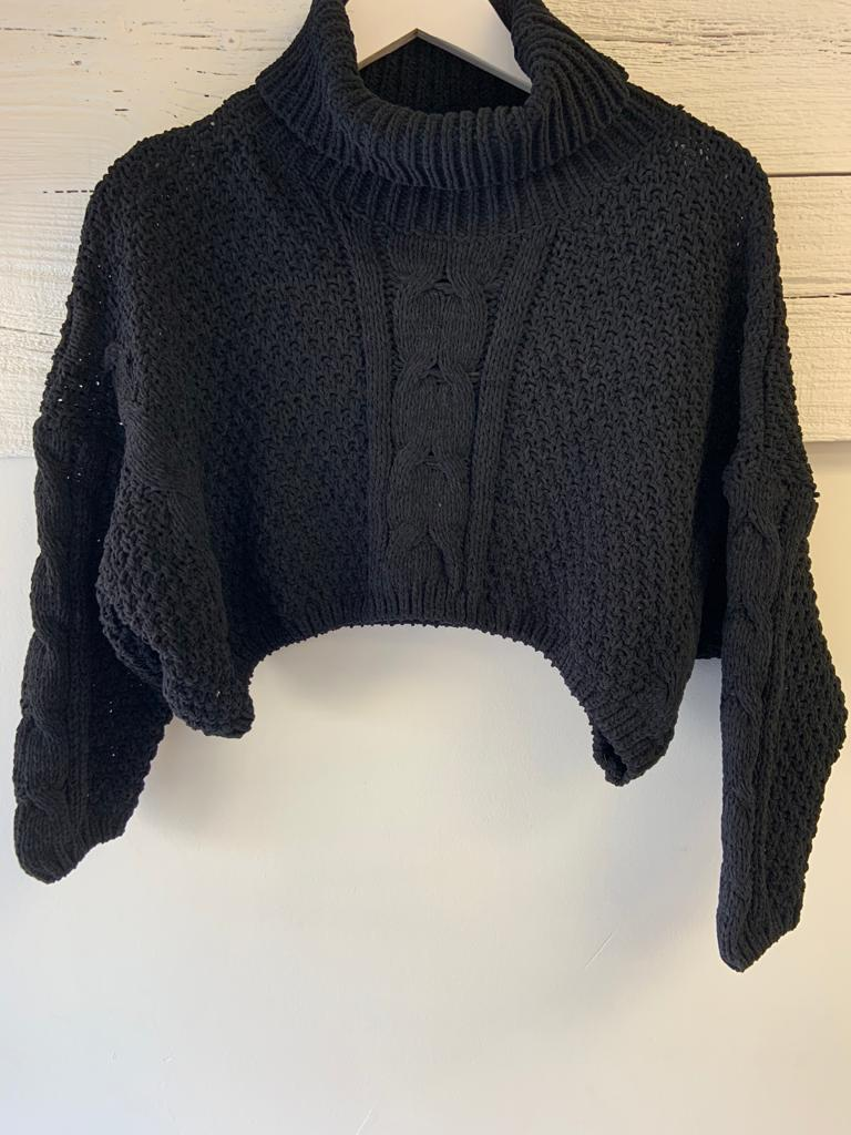 Chalet Crop Sweater - Black