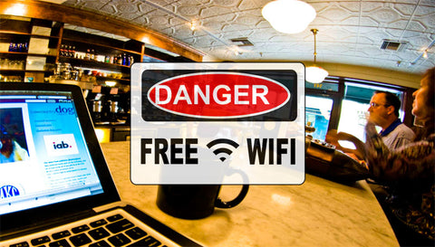 "Coffee Shop with a ""Danger, Free WiFi sign """