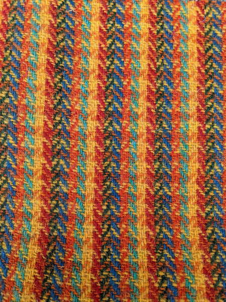 6 colour stripes with YELLOW/ORANGE blocks Harris Tweed 74cm wide x 50cm continual