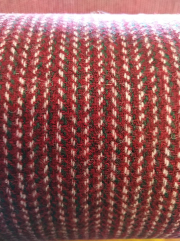 Festive red, green & white 2x2x2 12x12 hb Harris Tweed 74cm wide 30cm long continual
