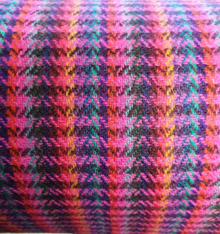 12 colour stripes with NEON PINK/BROWN blocks Harris Tweed 74cm wide x 50cm continual