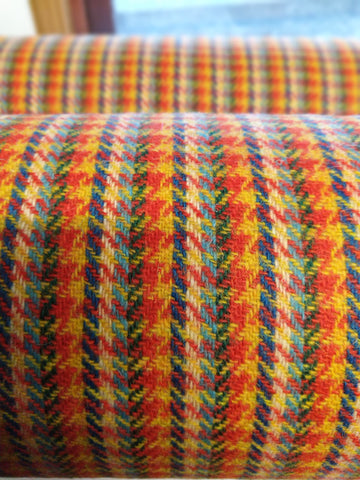 6 colour stripes with YELLOW/RICH ORANGE blocks Harris Tweed 74cm wide x 50cm continual