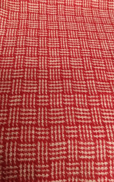 # Basketweave red & oatmeal Harris Tweed 74cm wide 30cm long continual