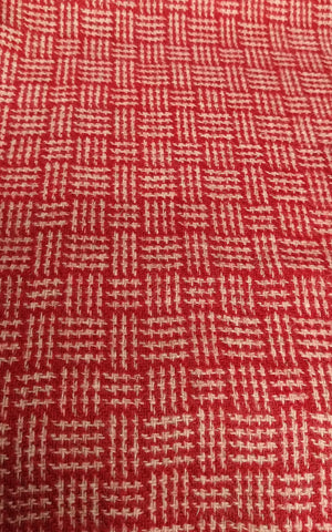 Basketweave red & oatmeal Harris Tweed 74cm wide 30cm long continual