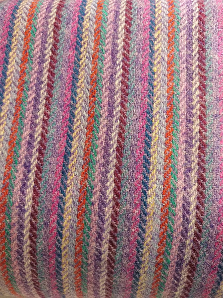 12 colour stripes with LILAC Harris Tweed 74cm wide 30cm long continual