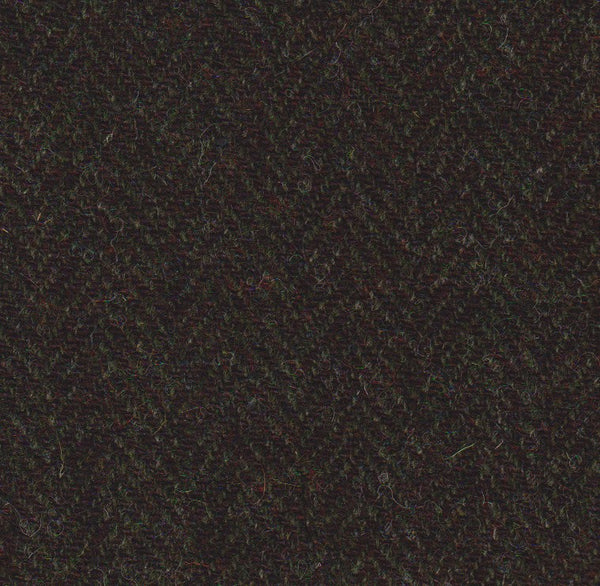 Dark Loden green & rich brown herringbone Harris Tweed 74cm wide x 50cm long continual