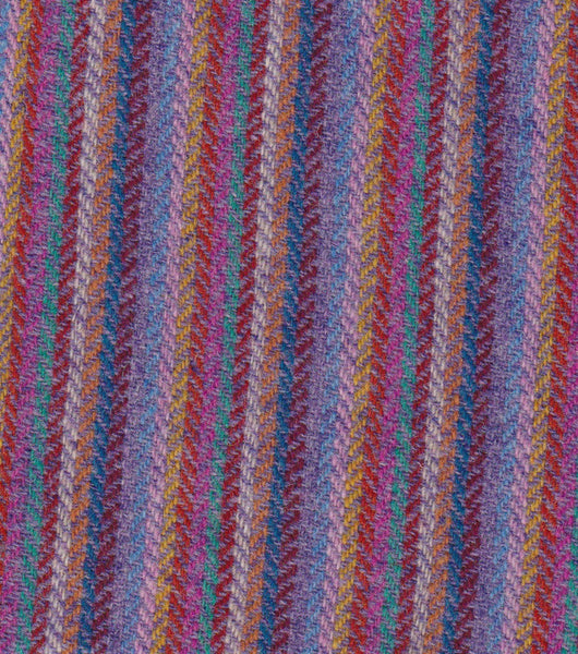 12 colour stripes with LILAC 4x4 hb Harris Tweed 74cm wide 50cm long continual