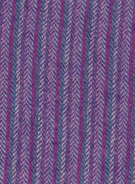 6 colour stripes with MID PURPLE  4x4 hb Harris Tweed 74cm wide 50cm long continual
