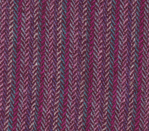 6 colour stripes with WINE  4x4 hb Harris Tweed 74cm wide 50cm long continual