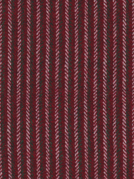 Festive red white & green stripes Harris Tweed 74cm wide 30cm long continual
