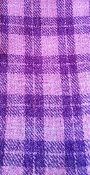Light pink & mid purple check Harris Tweed 74cm wide x 65cm long (only 1)