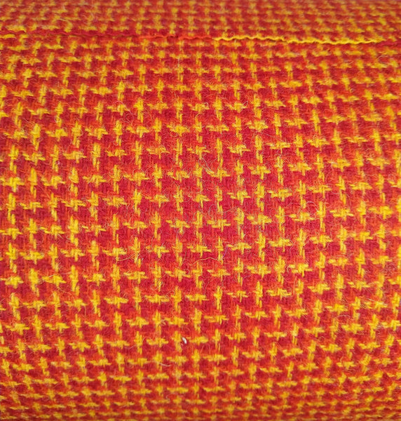 Red yellow & rich orange 2x2x2 twill Harris Tweed 74cm wide x 30cm long continual