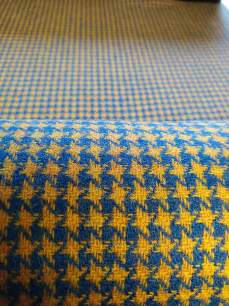 a teal & yellow star houndstooth Harris Tweed 74cm wide x 1m long continual