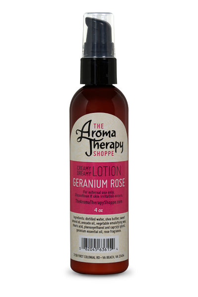 Handmade Geranium Rose Lotion - 4 oz. - The Aromatherapy Shoppe Virginia Beach