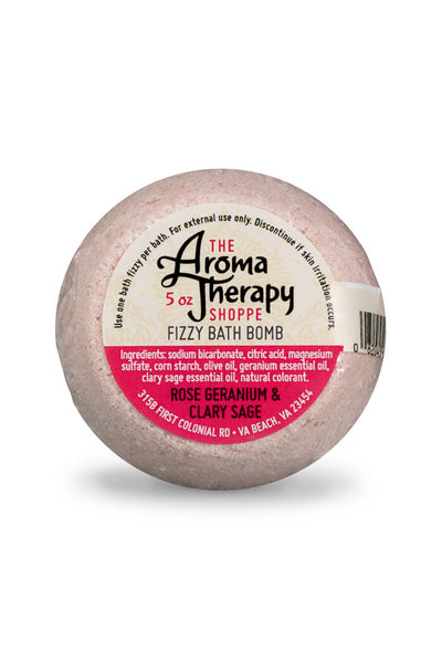 Handmade Rose Geranium & Clary Sage Fizzy Bath Bomb - The Aromatherapy Shoppe Virginia Beach