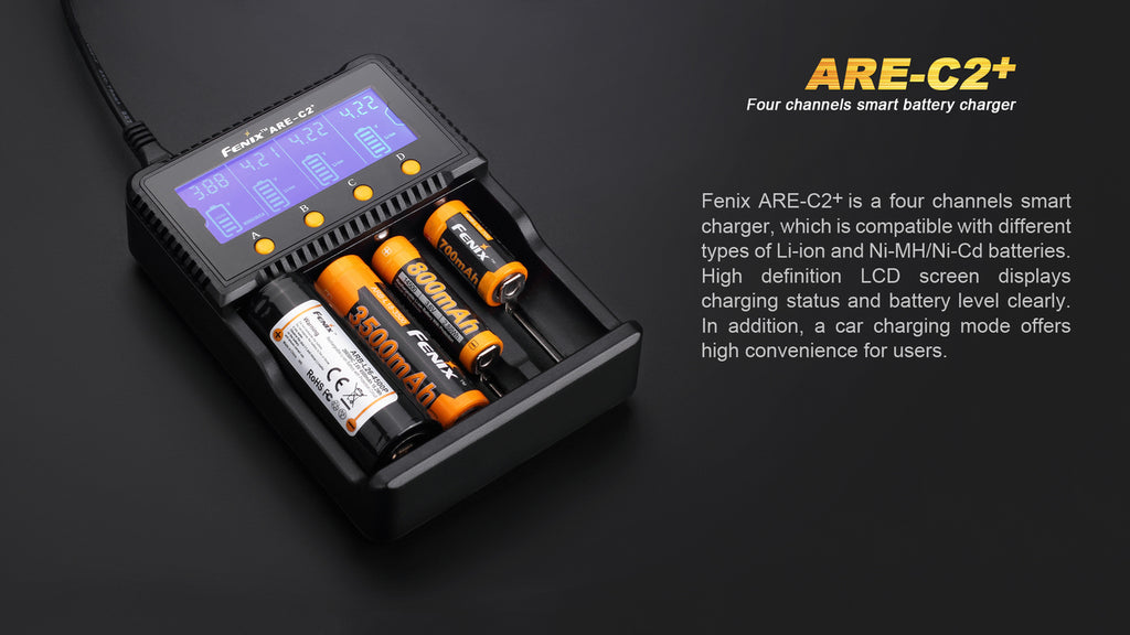 Fenix ARE-C2+ Battery Charger for Li-Ion, Ni-Cd, Ni-MH Battery