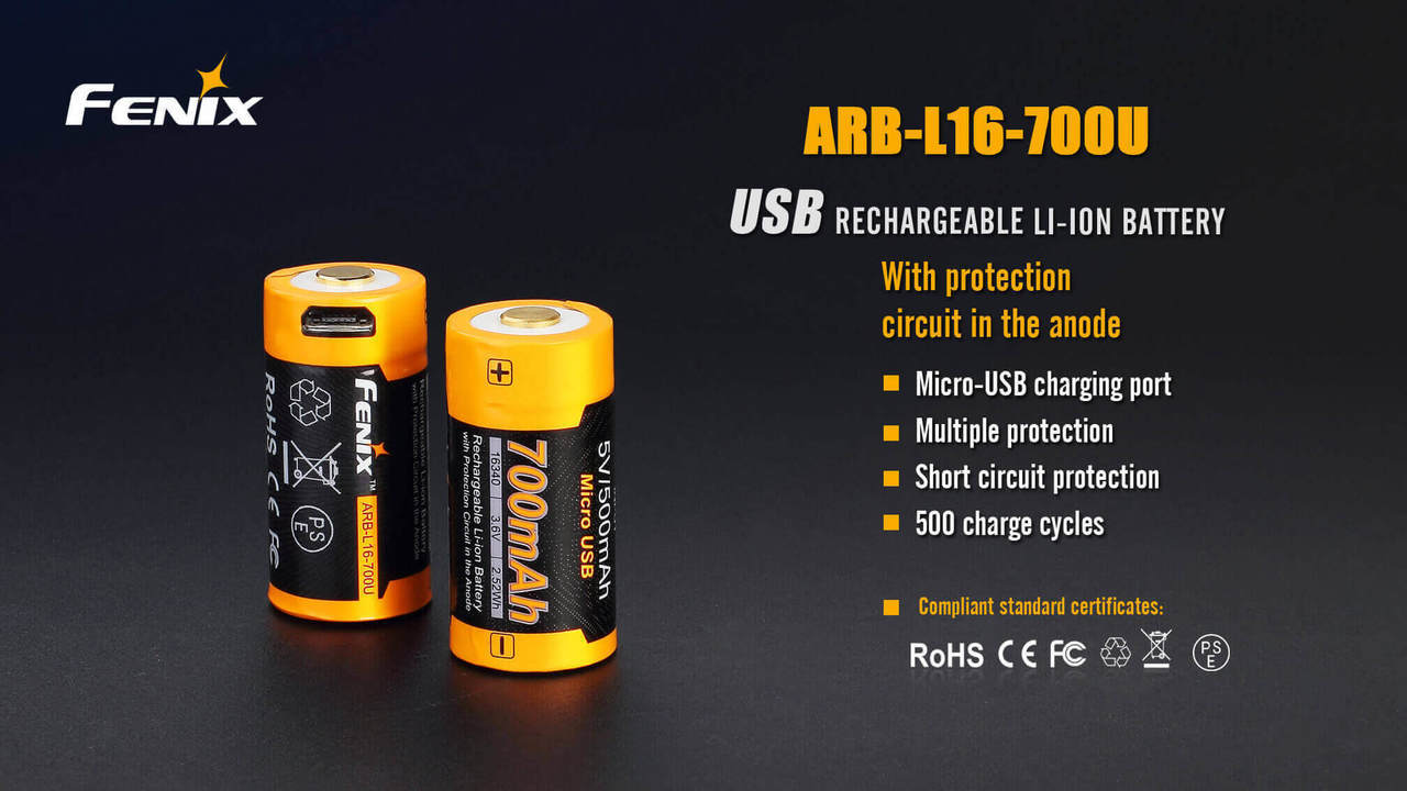 Fenix 16340 700mAh Micro USB Rechargeable Battery, ARB L16 700U Micro USB Rechargeable Battery, Lithium ion battery