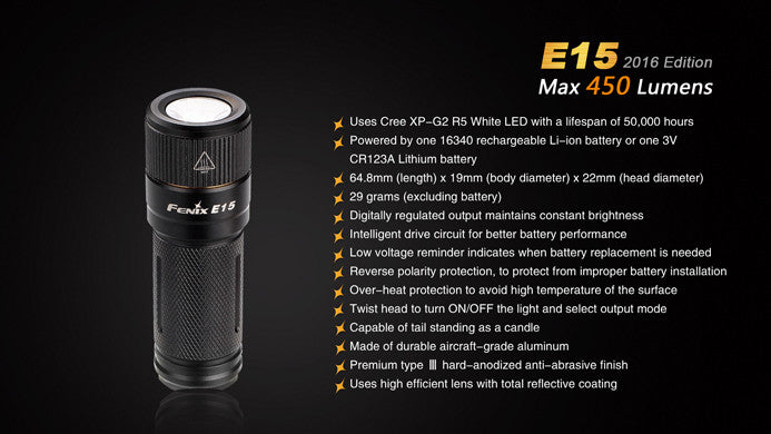 Fenix E15 LED Flashlight 2016 (1*16340/1*CR123A)