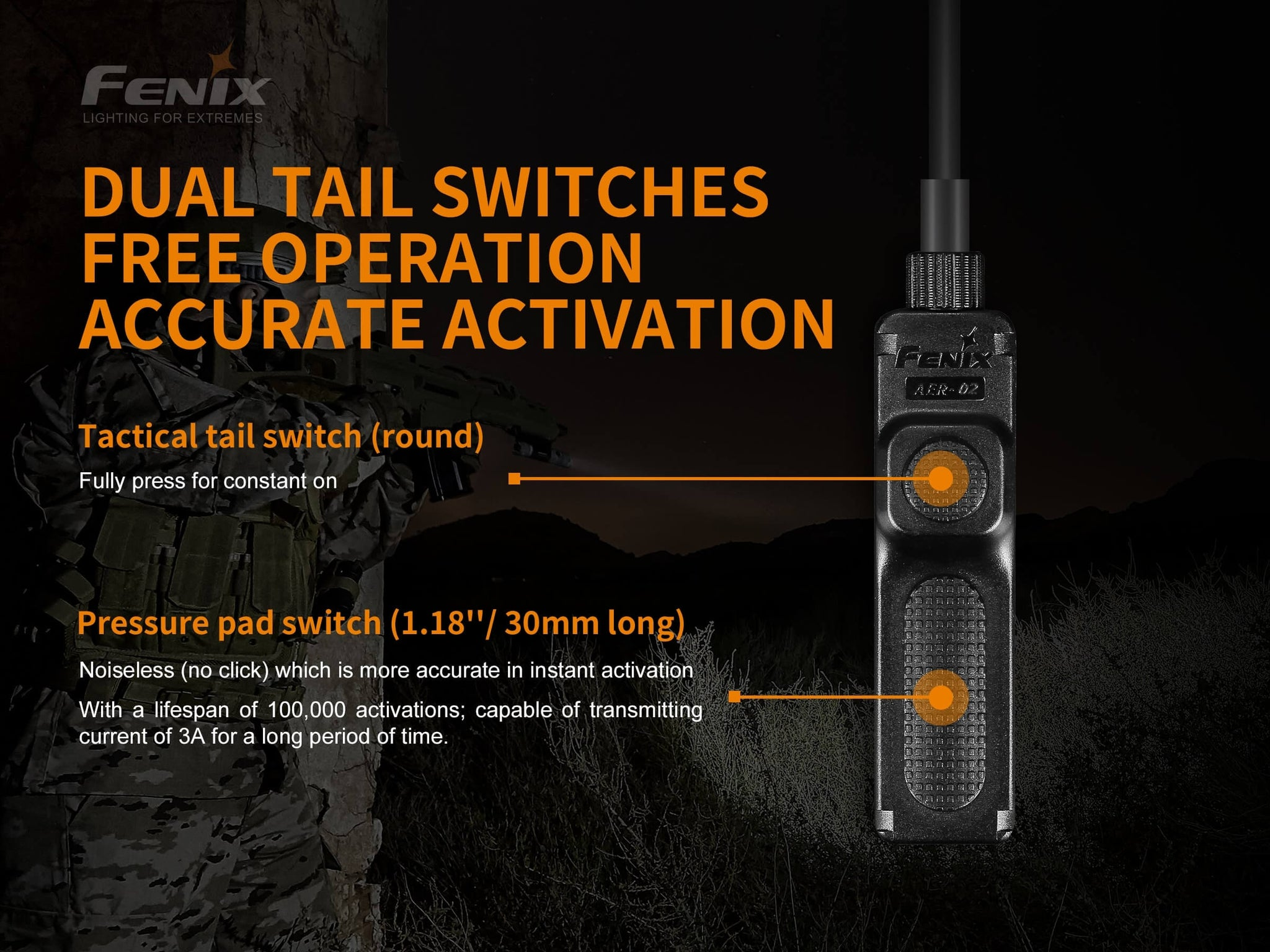 Fenix AER 02 V2 Remote Pressure Switch, Fenix Tactical Torch Accessory, Remote pressure switch for quick operation to mounted torches