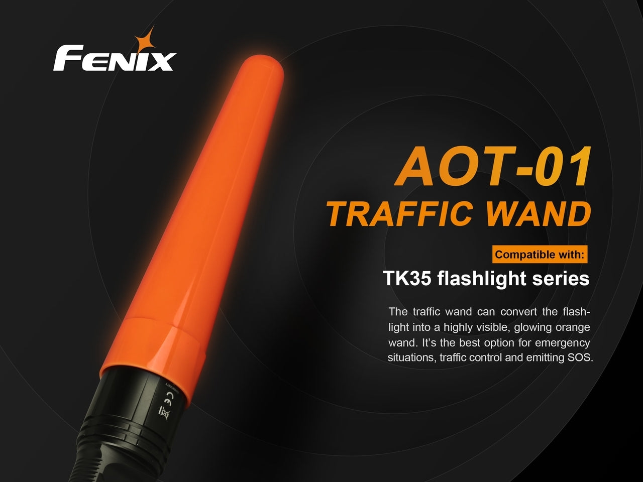 Fenix AOT-01 Traffic Wand, Accessory for Flashlight, Torch used for traffic control