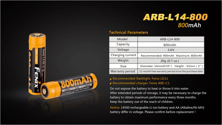 Fenix ARB-L14-800 Rechargeable Li-ion Battery 3.6v | BIS APPROVED