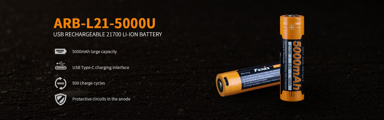Fenix 21700 5000mAh Capacity Rechargeable Lithium Ion Battery, Rechargeable Battery in India, BIS Compatible Batteries, USB C-Type 21700 Protective Battery