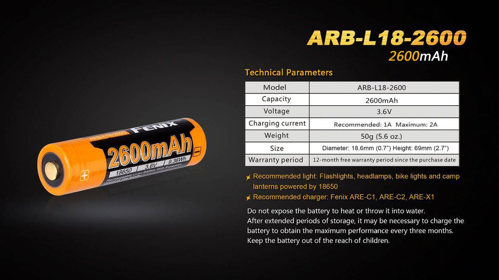 Fenix 2600mAh 18650 Rechargeable Battery in India