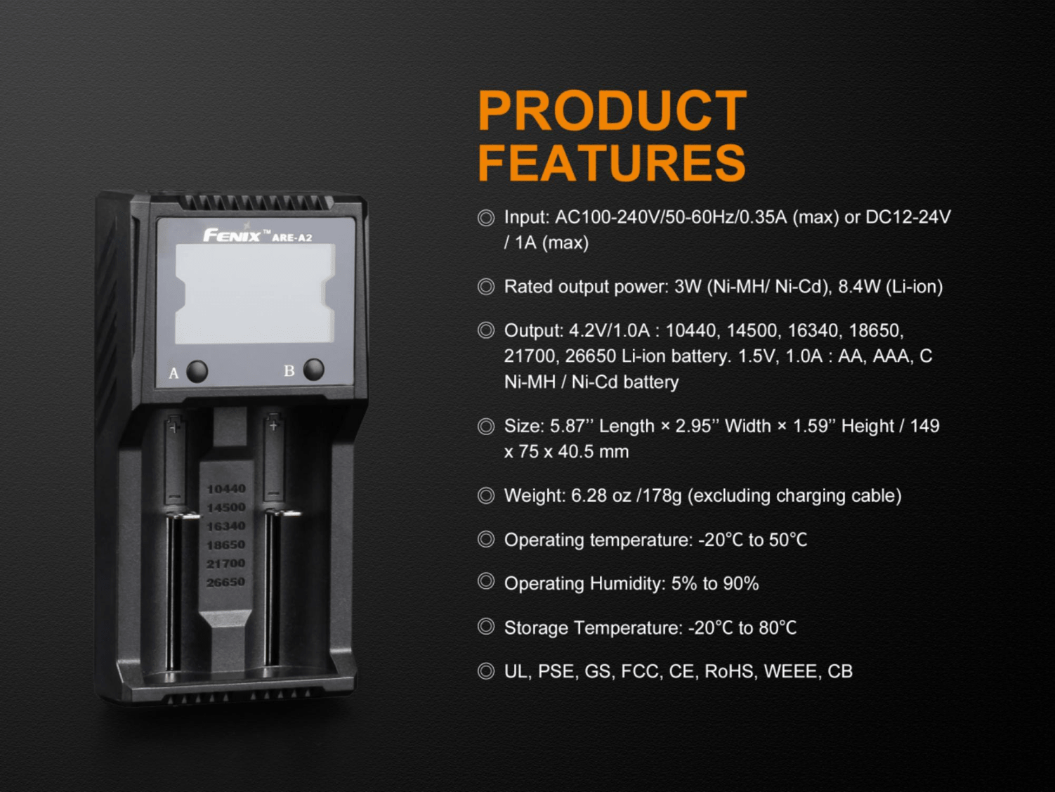 Fenix ARE A2, Two Slot Smart Charger, Rechargeable battery charger, Compatible charger to 18650, 16340, 14500 and other rechargeable AA, AAA and Lithium Ion Batteries, Charging and discharging Charger, Compact and Powerful protected Charger with LCD Screen Display