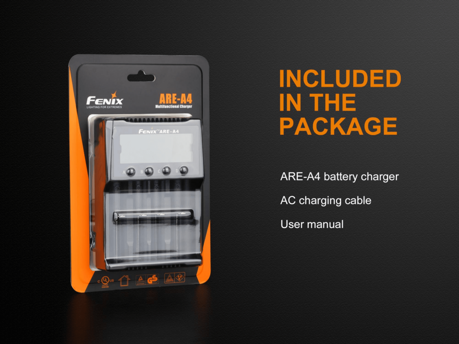 Fenix ARE A4, Four Slot Multifunctional Rechargeable Battery Charger, Compatible to Lithium Ion Batteries and Rechargeable Ni-MH and Ni-Cd AA, AAA, and C batteries, Charging and Discharging as power bank charger, Powerful 4 Battery Charger, Smart charger with LCD Screen Display