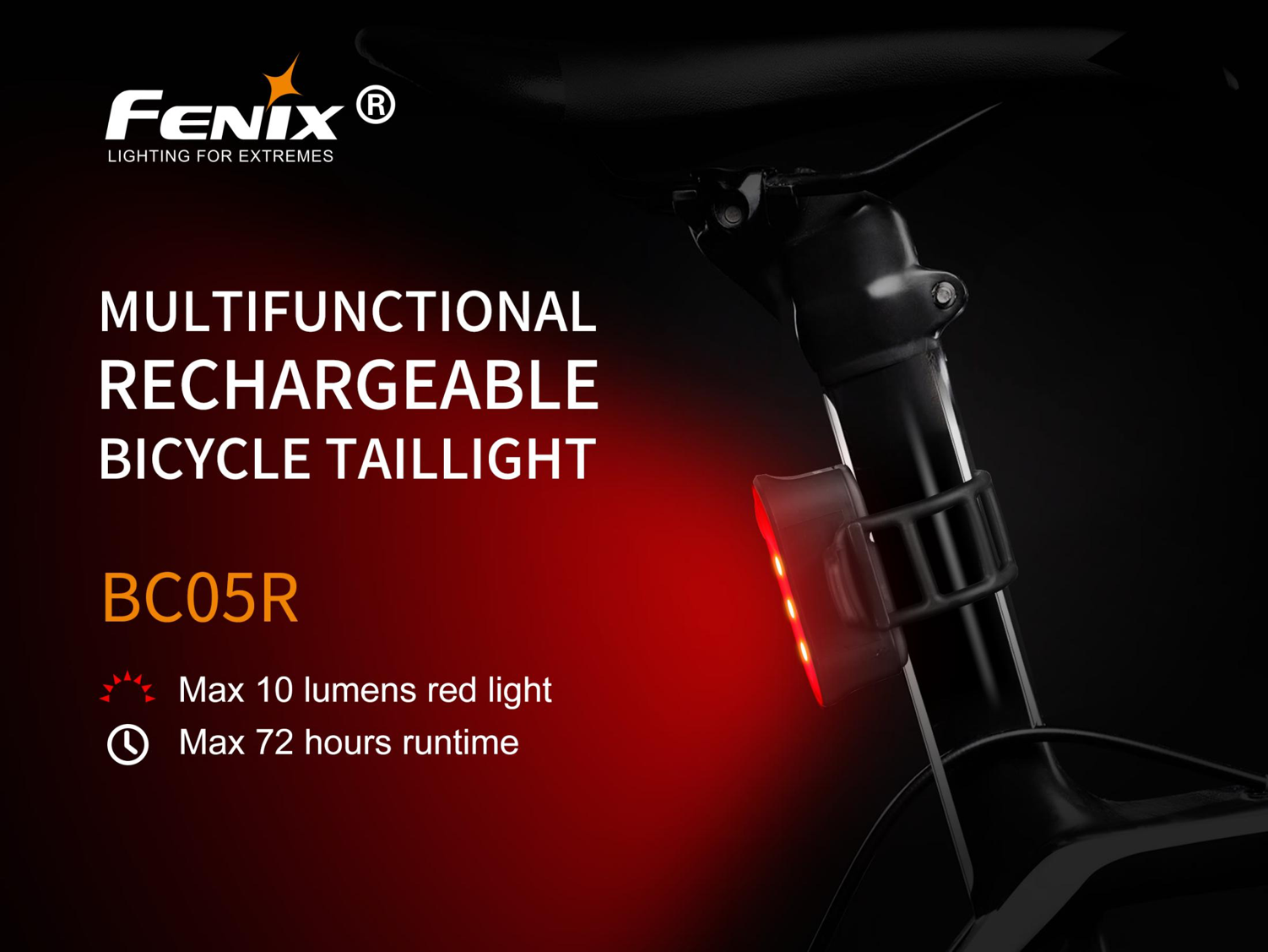 Fenix BC05R LED Rechargeable Bike Light, Bicycle/Bike Tail Light, RED LED and Flashing, Signalling Light, Mini Compact Light for Signalling while Walking, Trekking, Cycling