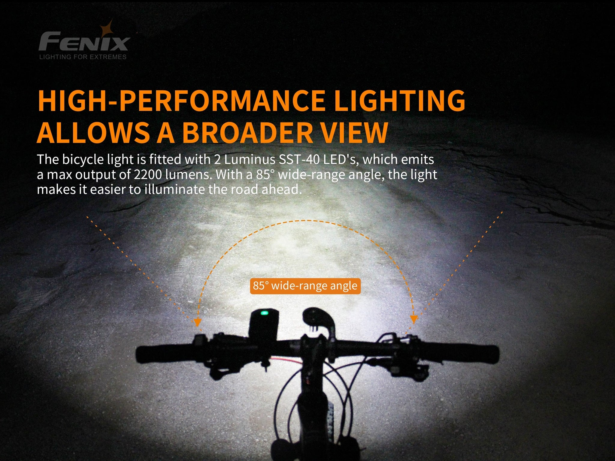Fenix BC30 V2 LED Bike Light, Fenix BC30 Powerful Bicycle Light, Rechargeable Outdoor Bicycle light for Cyclist