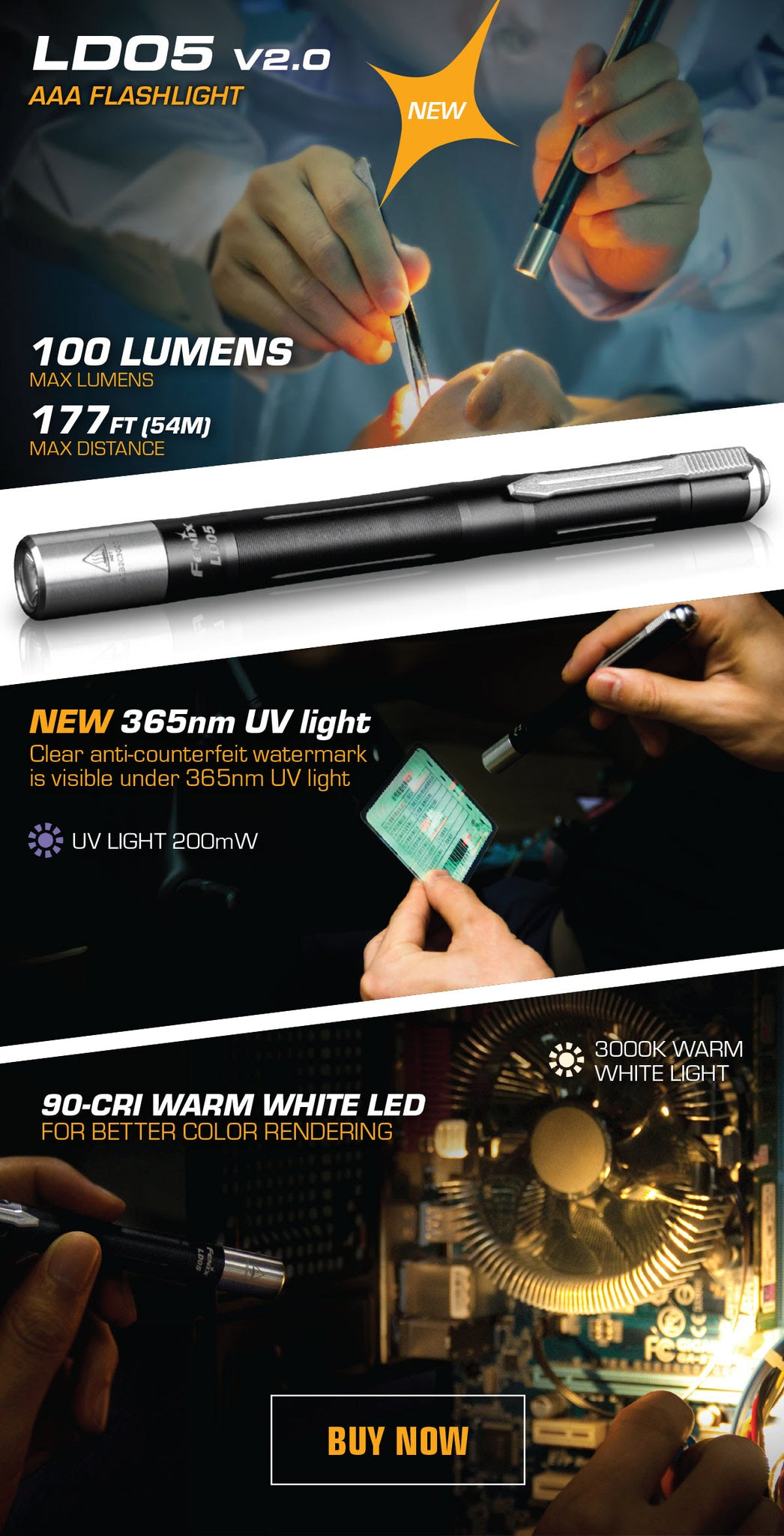 Fenix LD05 V2.0 LED pen light, 100 Lumens Compact Pen size LED Torch, Warm White Light with UV Light